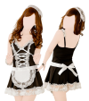 Tenue soubrette (robe, string, serre-tête)