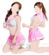 Tenue cosplay écolière rose (jupette, brassière, string)